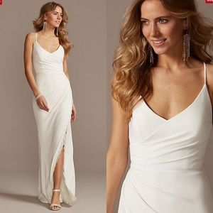 NWT Ruched Spaghetti Strap Wedding Dress Lace Slit